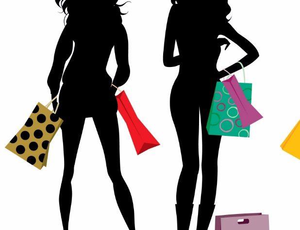 Dessin de femmes avec sacs de shopping